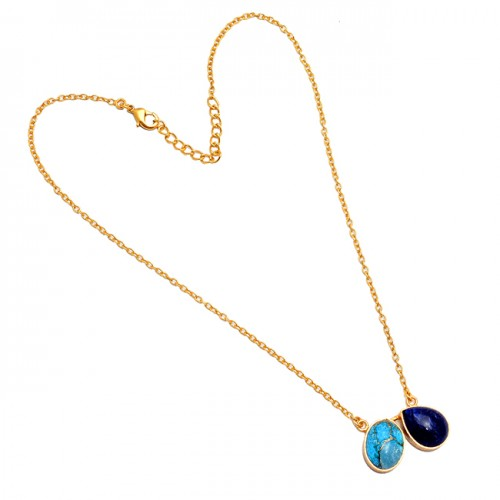 Pear Cabochon Gemstone 925 Sterling Silver Gold Plated Bezel Setting Necklace Jewelry
