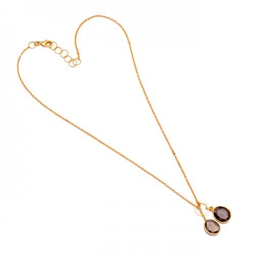 Smoky Quartz Oval Shape Gemstone 925 Sterling Silver Gold Plated Designer Necklace