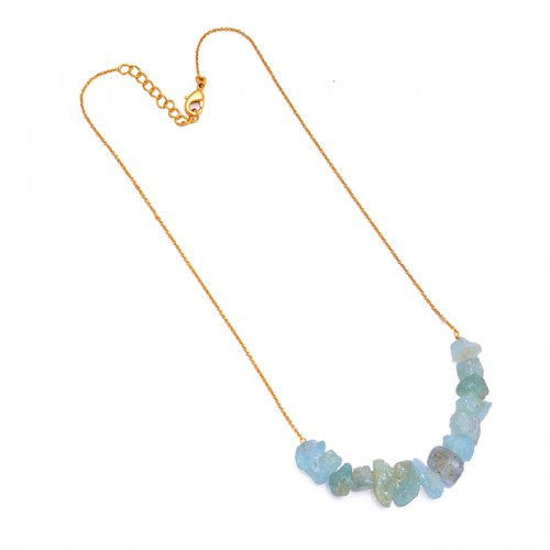 Aquamarine Rough Gemstone 925 Sterling Silver Gold Plated Handmade Necklace Jewelry