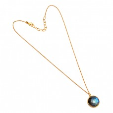 925 Sterling Silver Round Shape Labradorite Gemstone Gold Plated Designer Necklace
