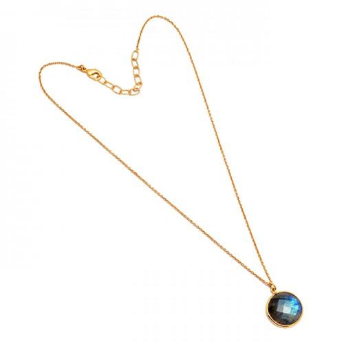 925 Sterling Silver Round Shape Labradorite Gemstone Gold Plated Designer Necklace