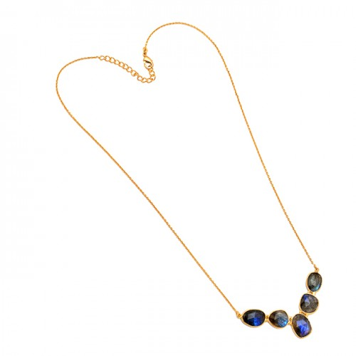 Fancy Shape Labradorite Gemstone 925 Sterling Silver Gold Plated Designer Necklace