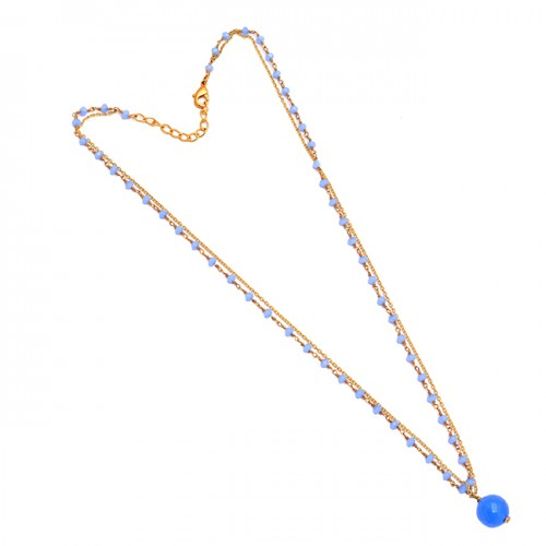 Blue Chalcedony Roundel Balls Shape Gemstone 925 Sterling Silver Gold Plated Necklace