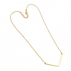 925 Sterling Silver Plain Designer Gold Plated Handmade Necklace Jewelry