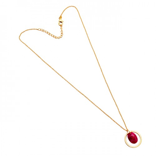 Oval Shape Ruby Gemstone 925 Sterling Silver Gold Plated Designer Necklace Jewelry