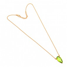 Pear Shape Peridot Gemstone 925 Sterling Silver Gold Plated Necklace Jewelry