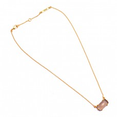 Rectangle Shape Rose Quartz Gemstone 925 Sterling Silver Gold Plated Necklace