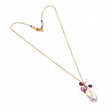 925 Sterling Silver Pearl Multi Tourmaline Gemstone Gold Plated Stylish Necklace