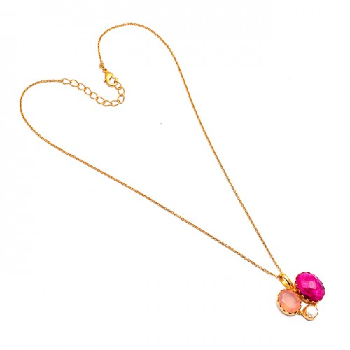Ruby Pearl Rose Quartz Gemstone 925 Sterling Silver Gold Plated Handmade Necklace
