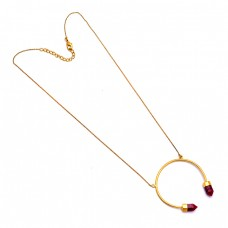 Handcrafted Designer Pencil Shape Ruby Gemstone 925 Silver Gold Plated Necklace