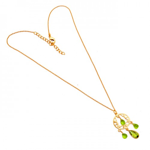 Peridot Pear Drops Shape Gemstone 925 Sterling Silver Gold Plated Designer Necklace