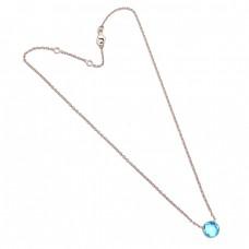 Blue Topaz Round Shape Gemstone 925 Sterling Silver Stylish Necklace Jewelry