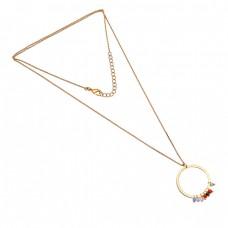 Round Shape Multi Color Gemstone 925 Sterling Silver Gold Plated Designer Necklace