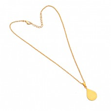 925 Sterling Silver Handmade Plain Designer Gold Plated Necklace Jewelry