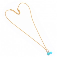 Pear Drops Shape Aqua Chalcedony Gemstone 925 Sterling Silver Gold Plated Necklace