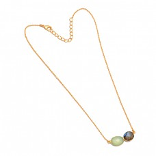 Labradorite Chalcedony Gemstone 925 Sterling Silver Gold Plated Necklace Jewelry