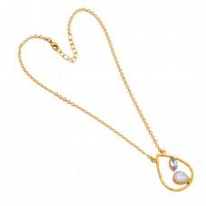 Blue Topaz Moonstone Handmade 925 Sterling Silver Gold Plated Designer Necklace