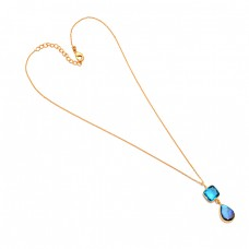 925 Sterling Silver Labradorite Topaz Gemstone Gold Plated Bezel Setting Necklace Jewelry