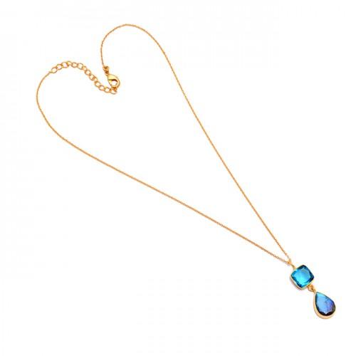 925 Sterling Silver Labradorite Topaz Gemstone Gold Plated Bezel Setting Necklace Jewelry