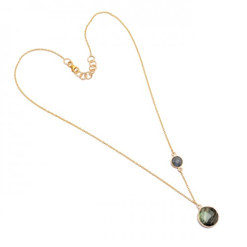 925 Sterling Silver Labradorite Round Shape Gemstone Gold Plated Necklace Jewelry