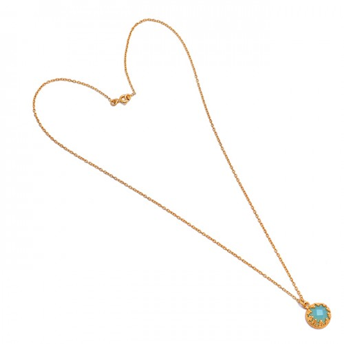 925 Sterling Silver Round Shape Aqua Color Chalcedony Gemstone Gold Plated Necklace