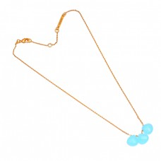 Briolette Heart Shape Chalcedony Gemstone 925 Sterling Silver Gold Plated Necklace