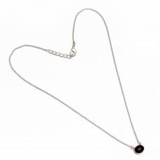Briolette Oval Smoky Quartz Gemstone 925 Sterling Silver Necklace Jewelry