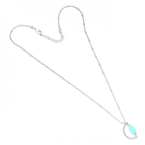 Oval Shape Aqua Color Chalcedony Gemstone 925 Sterling Silver Designer Necklace