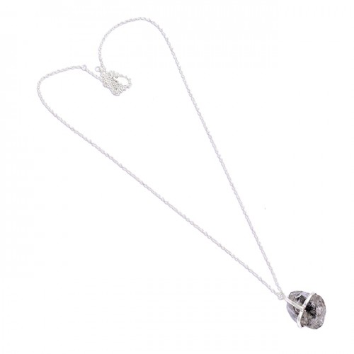 925 Sterling Silver Herkimer Diamond Rough Gemstone Handcrafted Designer Necklace