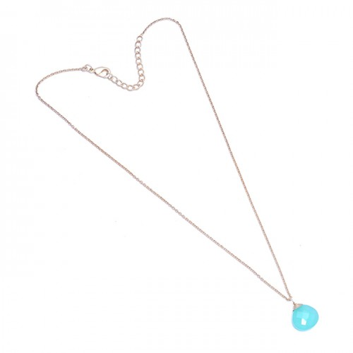 925 Sterling Silver Briolette Heart Shape Chalcedony Gemstone Necklace Jewelry