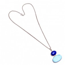 Lapis Lazuli Larimar Oval Shape Gemstone 925 Sterling Silver Chain Necklace Jewelry