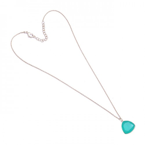 925 Sterling Silver Triangle Shape Aqua Chalcedony Gemstone Bezel Setting Necklace