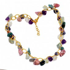 Raw Material Multi Color Rough Gemstone 925 Sterling Silver Gold Plated Necklace Jewelry