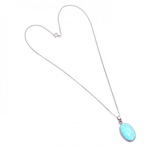 Oval Cabochon Blue Larimar Gemstone 925 Sterling Silver Bezel Setting Necklace Jewelry