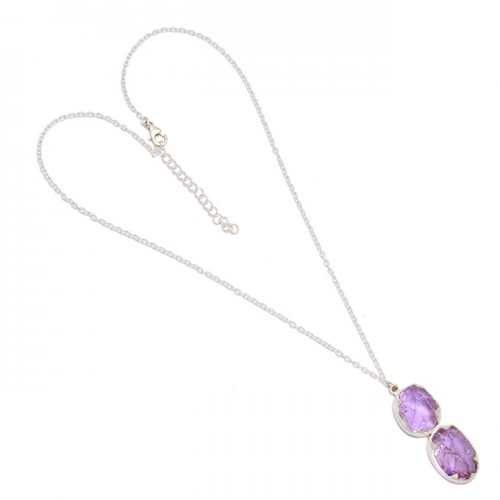 925 Sterling Silver Amethyst Rough Gemstone Handcrafted Designer Necklace Jewelry