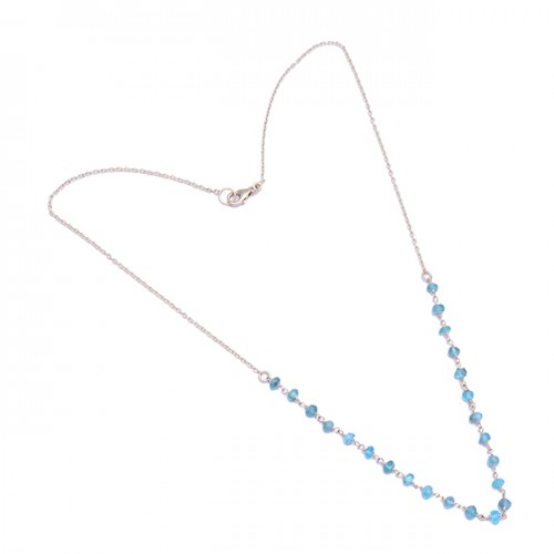 Faceted Roundel Beads Blue Topaz Gemstone 925 Sterling Silver Necklace Jewelry