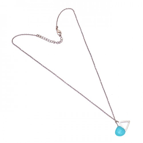 Heart Shape Aqua Chalcedony Gemstone 925 Sterling Silver Necklace Jewelry