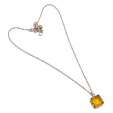 Briolette Square Shape Citrine Gemstone 925 Sterling Silver Handmade Necklace