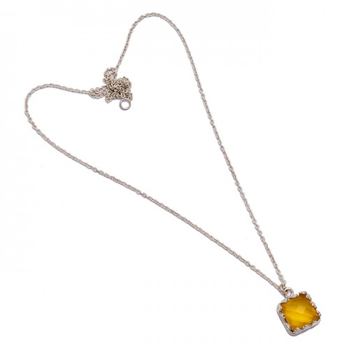 Briolette Square Shape Citrine Gemstone 925 Sterling Silver Handmade Necklace