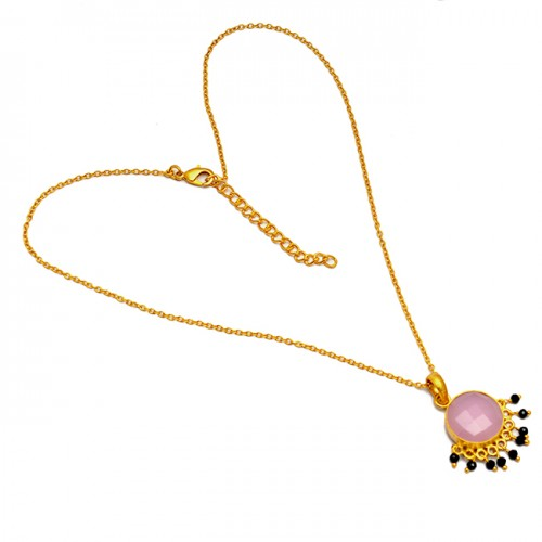Rose Chalcedony Black Onyx Gemstone 925 Sterling Silver Gold Plated Necklace Jewelry