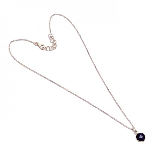 Heart Shape Amethyst Gemstone 925 Sterling Silver Chain Necklace Handmade Jewelry