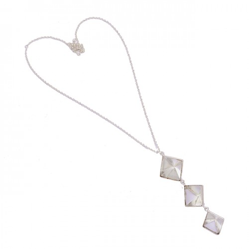 Square Shape Crystal Qaurtz Gemstone 925 Sterling Silver Chain Necklace Jewelry