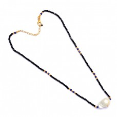Roundel Beads Pearl Black Onyx Lapis Lazuli Gemstone 925 Sterling Silver Necklace