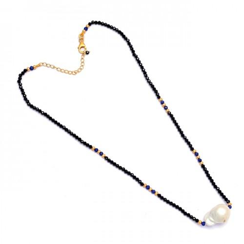 Roundel Beads Pearl Black Onyx Lapis Lazuli Gemstone 925 Sterling Silver Necklace
