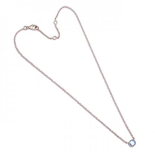 925 Sterling Silver Round Shape Gemstone Handcrafted Designer Necklace Jewelry