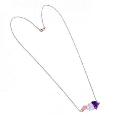 Rose Quartz Crystal Amethyst Rough Gemstone 925 Sterling Silver Necklace Jewelry