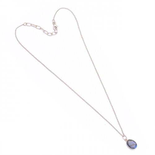 Fashionable Oval Shape Labradorite Gemstone 925 Sterling Silver Necklace Jewelry