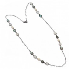 Labradorite Rainbow Pearl Gemstone Handmade 925 Sterling Silver Necklace Jewelry