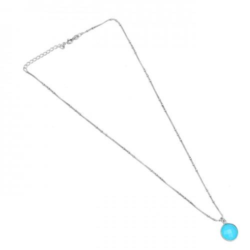 Bezel Setting Round Shape Aqua Chalcedony Gemstone 925 Sterling Silver Necklace