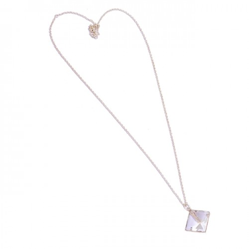 Crystal Quartz Square Shape Gemstone 925 Sterling Silver Necklace Jewelry